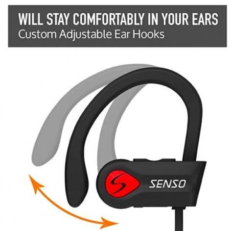 senso bluetooth headphones in ear closeup