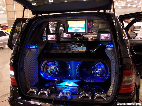 tricked out truck with car subwoofer